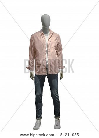 Full-length male mannequin dressed in pink shirt and blue jeans isolated on white background. No brand names or copyright objects.
