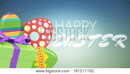 Digital composite of White type and green gift and red green eggs against blue green background