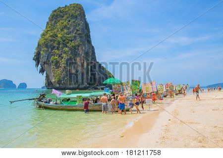KrabiTHAILAND-February 202017:Food boat in the sea at Island sell food and drink many with tourist at sea islands of Phi Phi Krabi Phuket most attractive travel landmark popular in summer season.