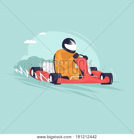 Guy is riding on karting. Isolated. Extreme sport. Flat design vector illustrations.