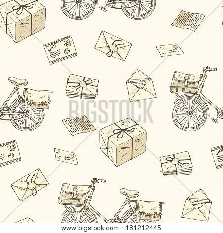 Postal Service. Mail Delivery. Seamless Pattern with Bicycles, Envelopes, Parcels and Letters on a Beige Background