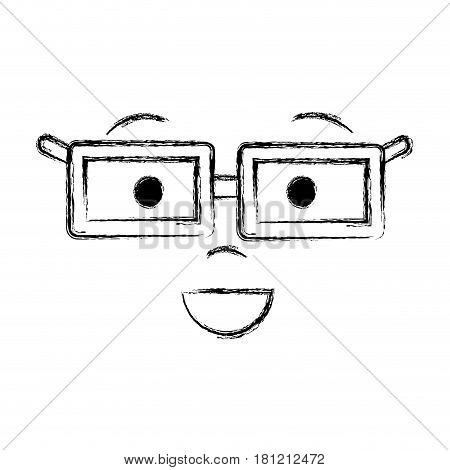 contour man face with eyes, mouth, nose and glases, vector illustration