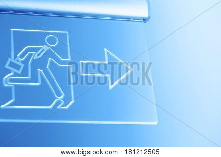 business man running solution concept. way out exit sign for emergency.