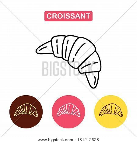 Croissant vector linear icon isolated. Bakery products image. Outline vector Logo illustration. Trendy Simple vector Illustration isolated for graphic and web design for confectionery shop or cafe