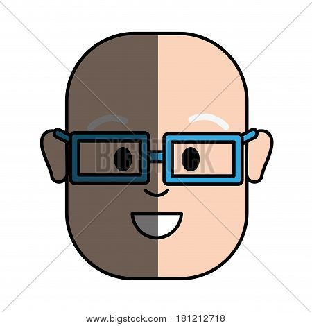 happy man with bald head and glasses, vector illustration design