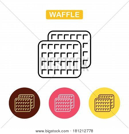 Waffle Outlined Food Icon. Biscuit simbol. Bakery products image. Outline vector Logo illustration. Trendy vector Illustration isolated for graphic and web design for confectionery shop or cafe.