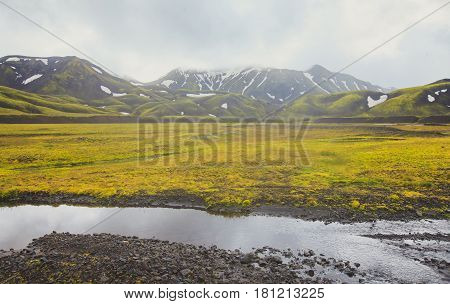 Famous icelandic popular tourist destination and hiking hub in Iceland's highlands landmannalaugar colorful mountains landscape view, South Iceland