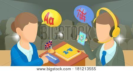 Translator horizontal banner concept. Cartoon illustration of translator vector horizontal banner for web