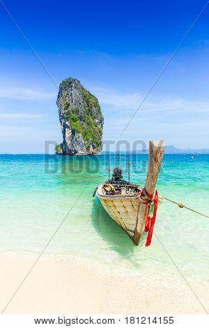 Thailand Summer Travel Sea, Thai Old Wood Boat At Sea Beach Krabi Phi Phi Island Phuket Park On Whit