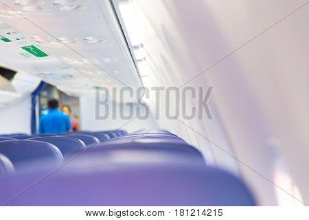 white clean new passenger cabin in air plane.