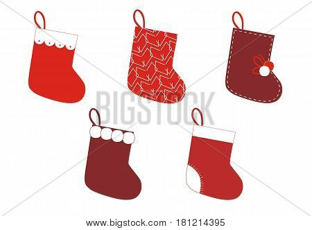 Set of Christmas Socks on white background