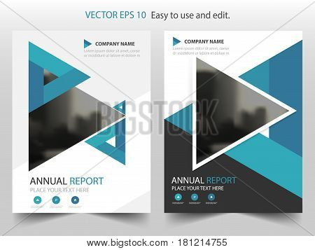 Blue abstract triangle annual report Brochure design template vector. Business Flyers infographic magazine poster.Abstract layout template Book Cover presentation portfolio.