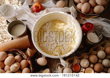 Ingredients For Baking Cake Stuffed With Fresh  Pie. Female Prep