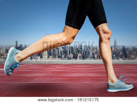 Digital composite of Runner legs on track against skyline
