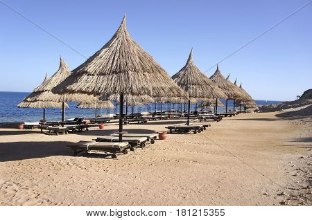 Straw umbrellas on the sandy beach of Egypt