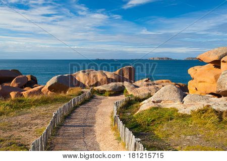 Pink Granite Coast in Brittany near Ploumanach France
