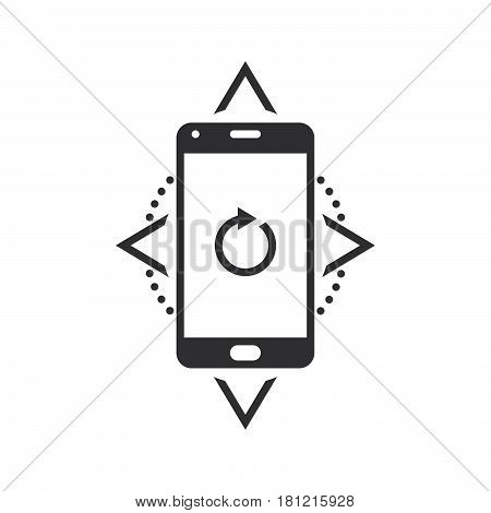 Smartphone Compass Calibration Sign. Vector Icon, Solid Logo Illustration, Pictogram Isolated On Whi
