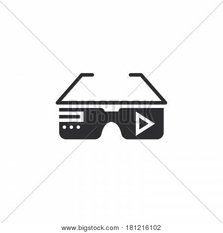 Virtual Reality Eyeglasses Icon Vector, Solid Logo Illustration, Pictogram Isolated On White