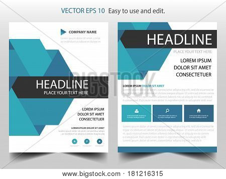 Blue triangle annual report Brochure design template vector. Business Flyers infographic magazine poster.Abstract layout template Book Cover presentation portfolio.