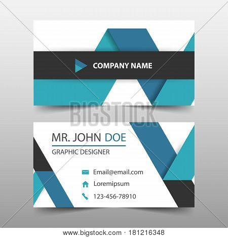 Blue ribbon corporate business card name card template horizontal simple clean layout design template Business banner template for website