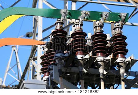Ceramic Insulators Of A High-voltage Transformer In The Power Pl