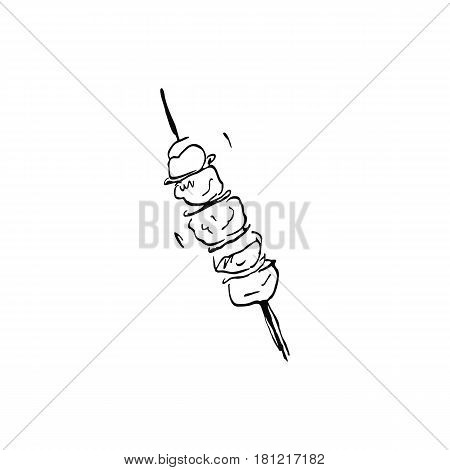 kebab. freehand drawing. Vector illustration. Doodle art. Freehand outline ink hand drawn picture object sketch.
