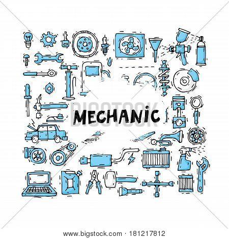 Mechanic. Auto engine repair elements. Suspension, painting, polishing. Car service. Set of icons. Hand drawn vintage style. Flat design vector illustration.