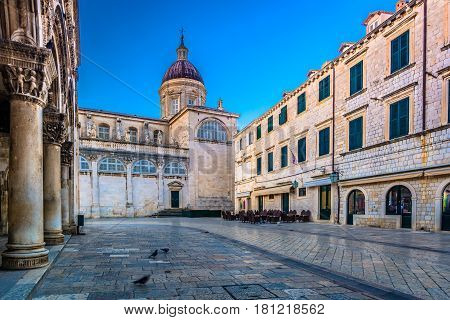 Beautiful view on old outdoors architecture in famous touristic and historic destination in Croatia, town Dubrovnik, Europe.