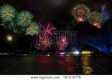 reflactions and colored fireworks in istanbul night