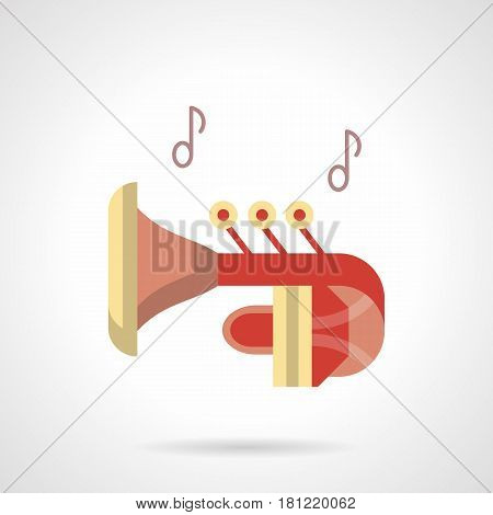 Red trumpet with two notes. Orchestral music, element for party, performance and other. Flat color style vector icon.