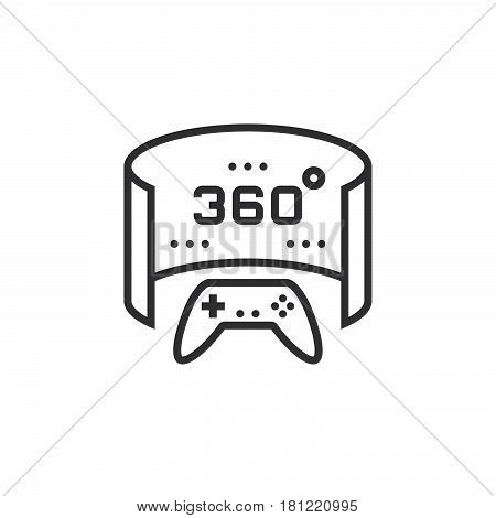 360 Degree Panoramic Video Game Line Icon, Outline Vector Logo Illustration, Linear Pictogram Isolat