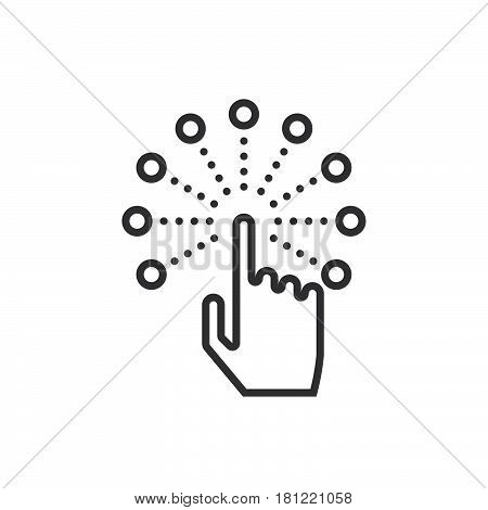 Interactive Touch Screen Interface Line Icon, Outline Vector Logo Illustration, Linear Pictogram Iso