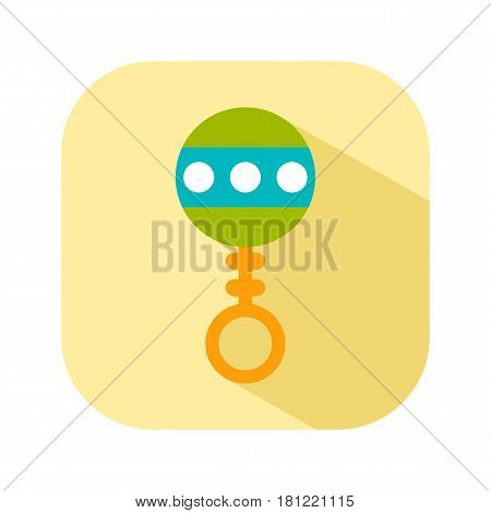 Rattle. Flat color icon things for the newborn baby. Vector
