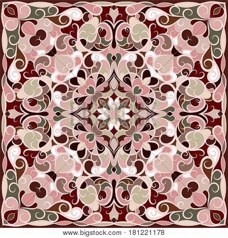 Squared ornamental oriental pattern. Good design for bandanna, carpet, shawl, pillow or cushion