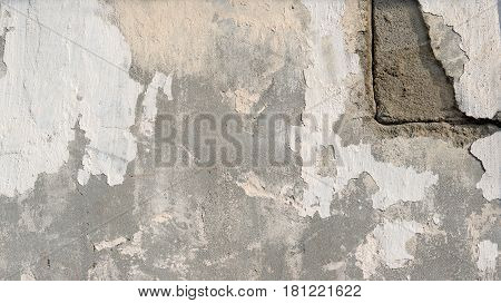 background the natural plaster cement grey plain textured with cracks in the upper right corner