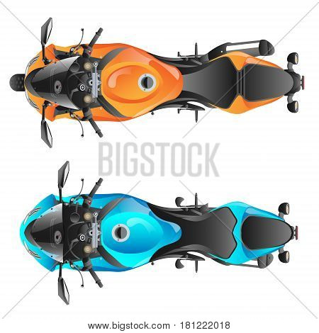 Color sport motorcycle. Two motorcycles top view