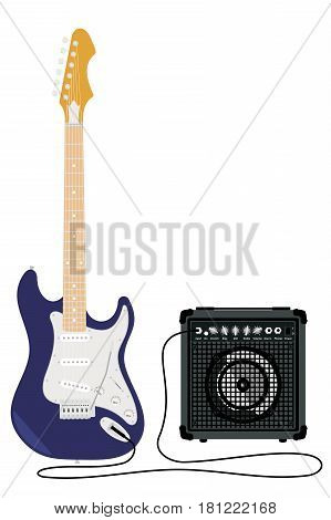 Blue electric guitar with strings and amplifier isolated on white background.