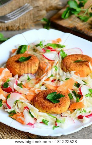 Chickpea cutlets and vegetable salad on a plate. Fried homemade chickpea cutlets. Salad made with cabbage, carrot, radish, green onions and parsley. Vegan lunch or dinner recipe. Rustic style