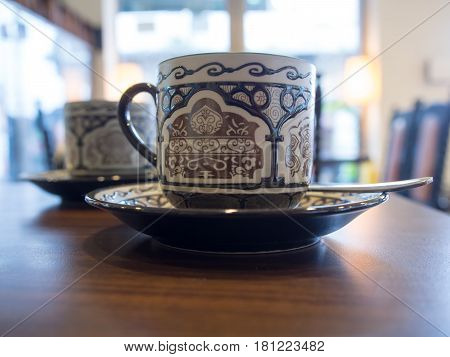Wulai Taiwan - October 09 2016: Chinese white and brown porcelain cup