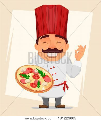Chef Cook holding tasty pizza. Cute cartoon character smiling cook in professional uniform and red hat. Stock vector