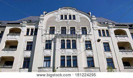 Riga Elizabetes Street 22 Art Nouveau National Romanticism Elements of the Facade