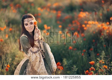 Beautiful Medieval Queen Daydreaming in Natural Landscape