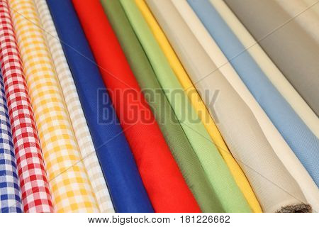 Background of cotton fabrics for sale in Italian haberdashery