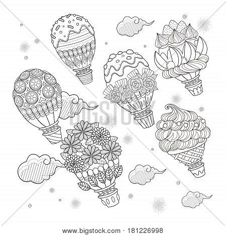 Hot Air Balloon Adult Coloring Page