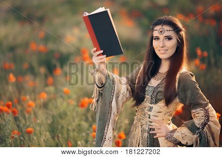 Medieval Reading a Book in a Magical Field of Poppies