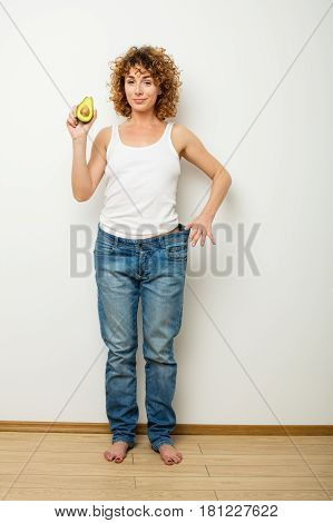 Loosing Weight Concept With Curly Woman