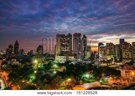 Bangkok, Thailand - November 5, 2016: High View Of Bencha Siri Park And Building At Bangkok, Thailan