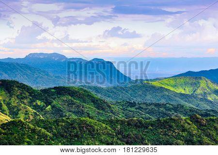 Beautful Green Field Mountain And Blue Sky At Khao Kor, Thailand