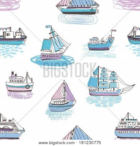 Seamless pattern with doodle ships, yachts, boats, sailing craft, sailboat, nautical vessel. Background with sea transport. Colorful hand drawn illustration