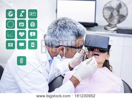 Digital composite of Dentist patient wearing VR Virtual Reality Headset with Interface
